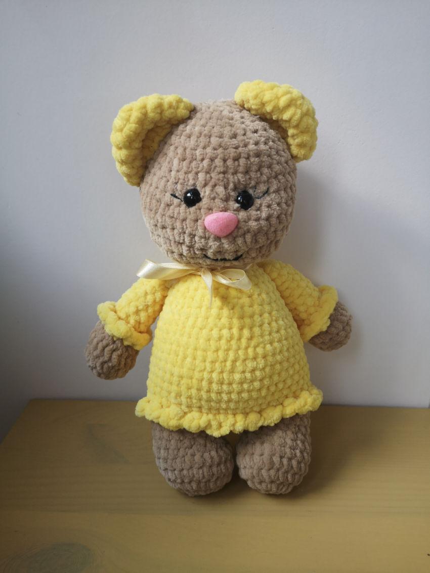 žaislai | minkšti | nertas žaislas pliušine- meškutė su gelt
