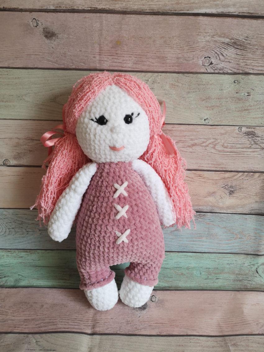 žaislai | minkšti | nertas žaislas pliušinė lėlytė su rožini