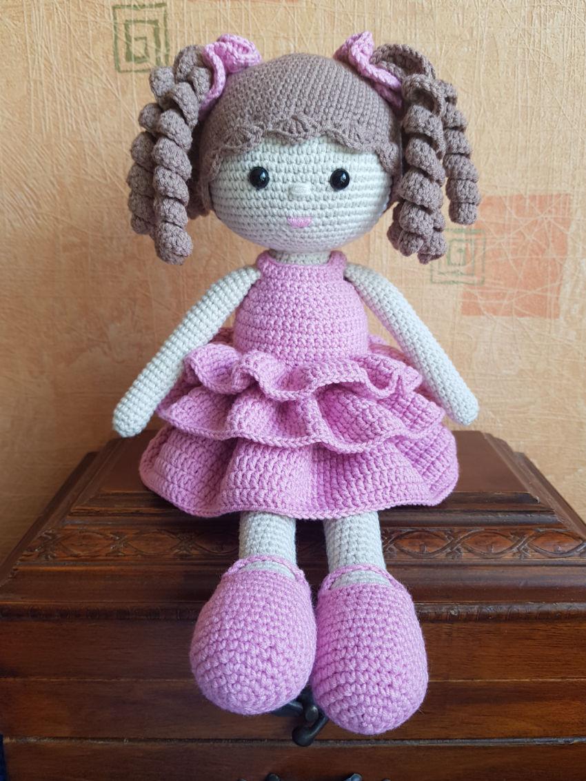 žaislai | lėlės | rankų darbo nerta lėlė adelė. 35cm