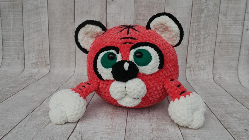 žaislai   minkšti   rankų darbo žaislas - tigras. skersmuo 2
