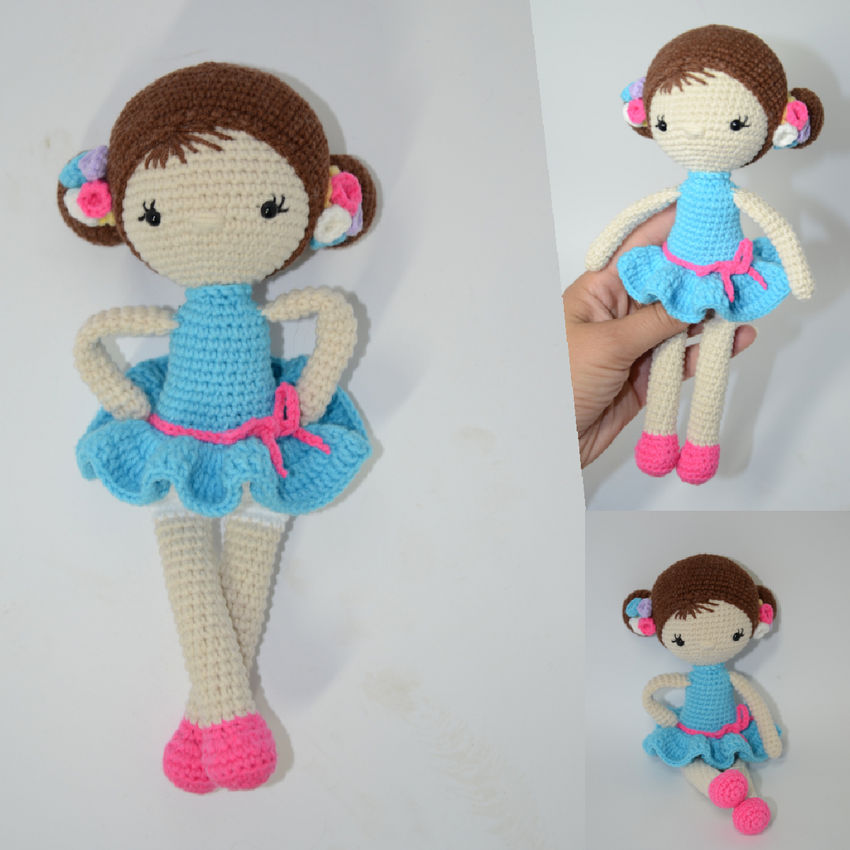 žaislai | minkšti | rankų darbo nerta maža lėlytė su mėlyna