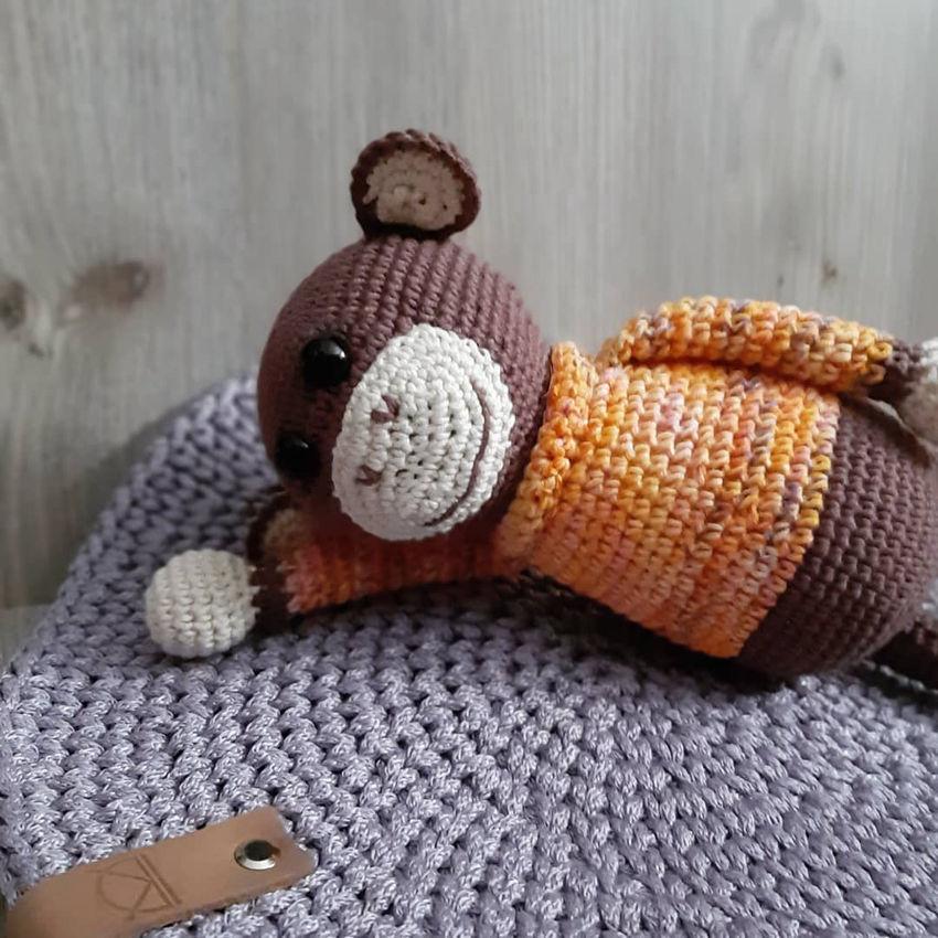 žaislai | minkšti | rankų darbo nertas beždžioniukas tukis