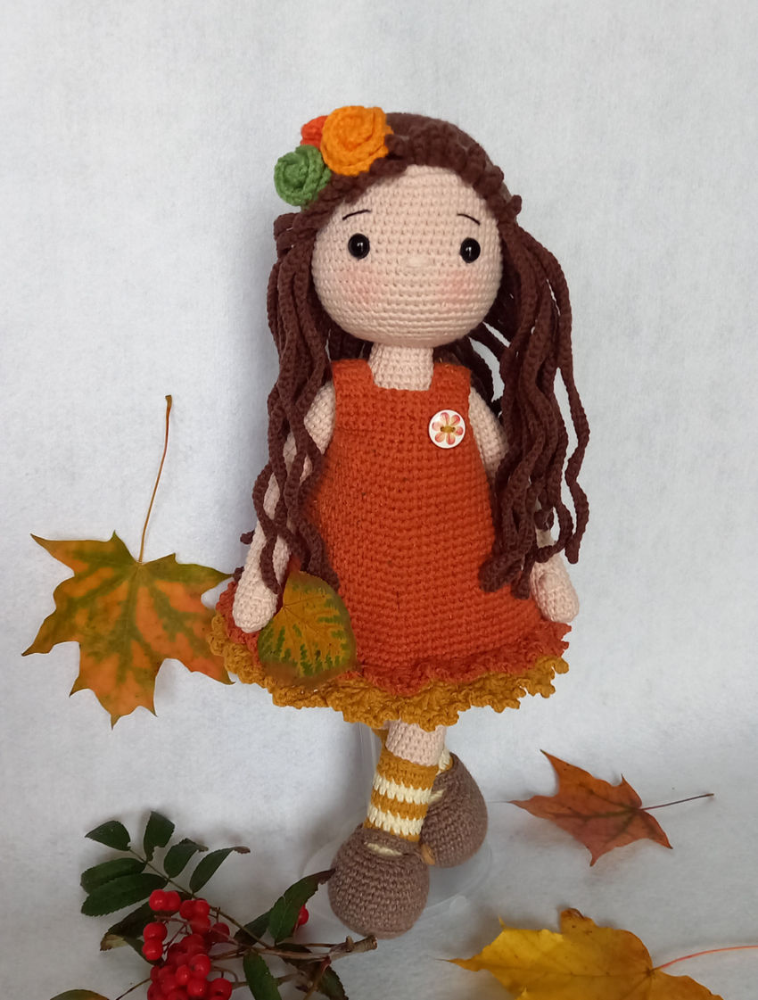 žaislai | lėlės | nerta rudeninė mergaitė 36 centimetrų dy