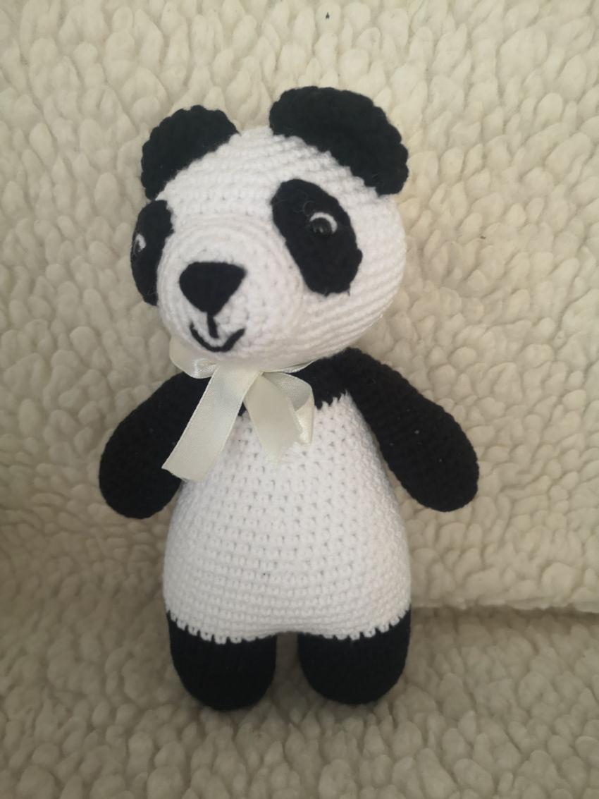 žaislai | minkšti | nertas žaislas, panda, medvilniniai siūl