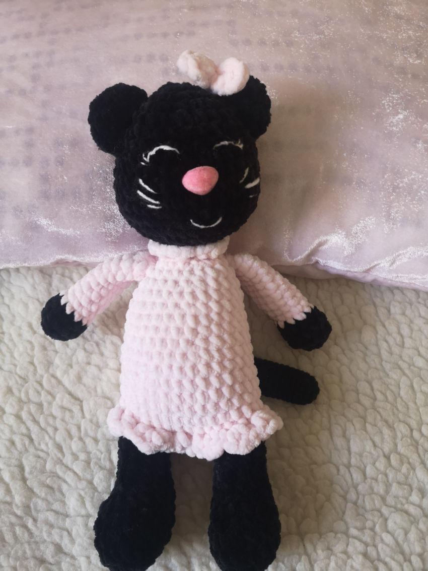žaislai | minkšti | nertas - žaislas, juoda katytė su rožine