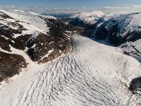 Een panoramisch beeld van een gletsjer. © Sebastian Vervenne