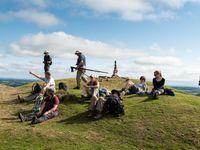 Groepsfoto op een uitkijkpunt in Exmoor. © Sandy Spaenhoven