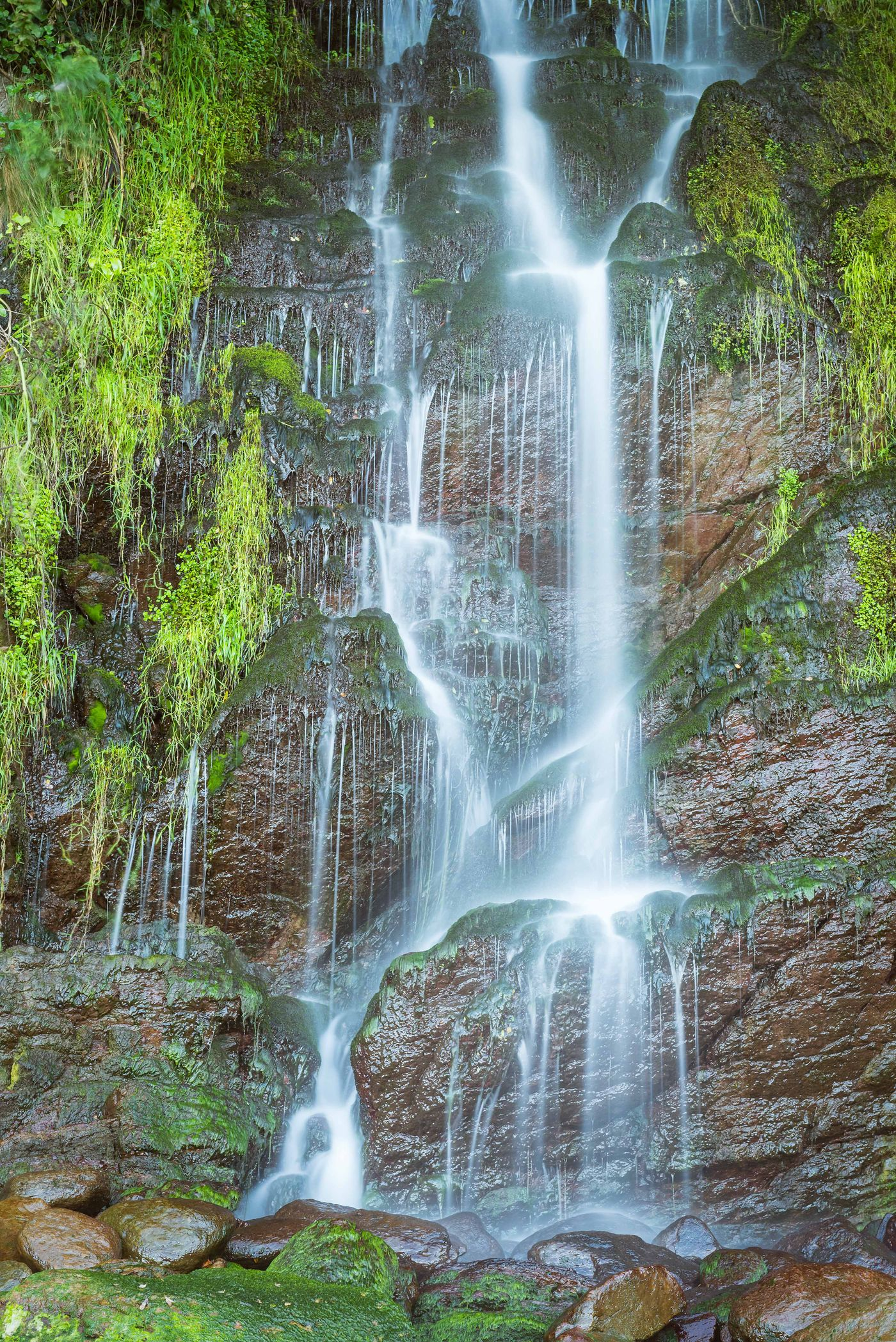 Een waterval met rijke begroeiing langs de randen. © Sandy Spaenhoven