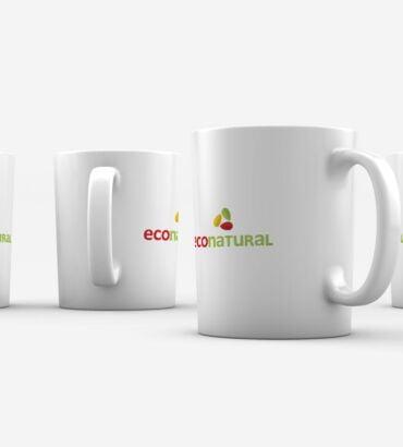 Mugs de Econatural, diseñados por Galanés Agencia de Comunicación.