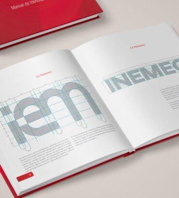 Planimetría del logo de Inemec, diseñado por Galanés Agencia de Comunicación.