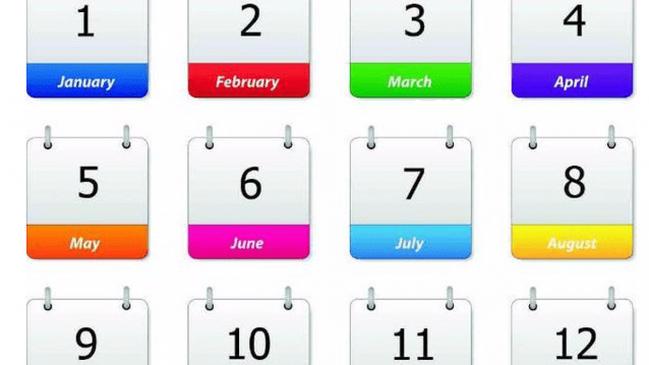 الأشهر الميلادية وعدد أيامها - كراسة
