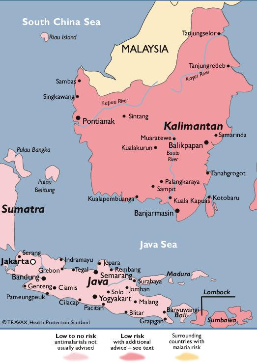 Peta persebaran malaria di Jawa dan Bali