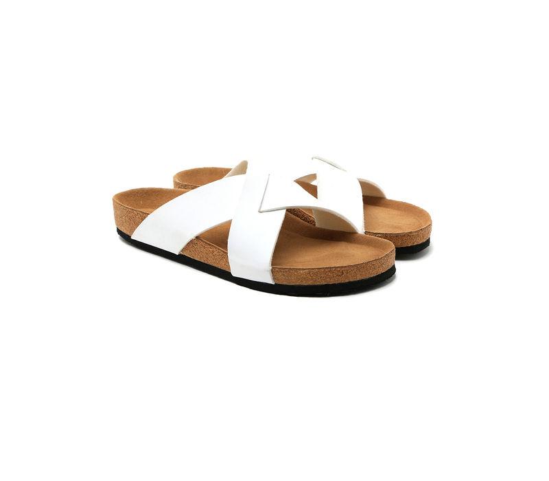 Cygna Cross strapped silver/white slippers