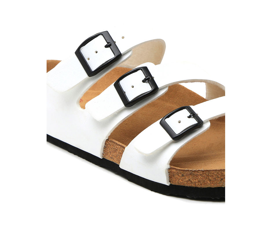 Cygna Triple strapped buckled white sandals