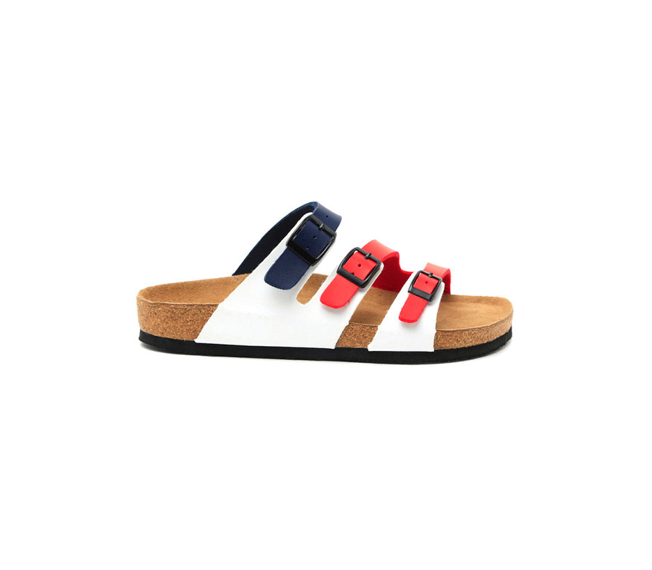 White and Red Slip-ons