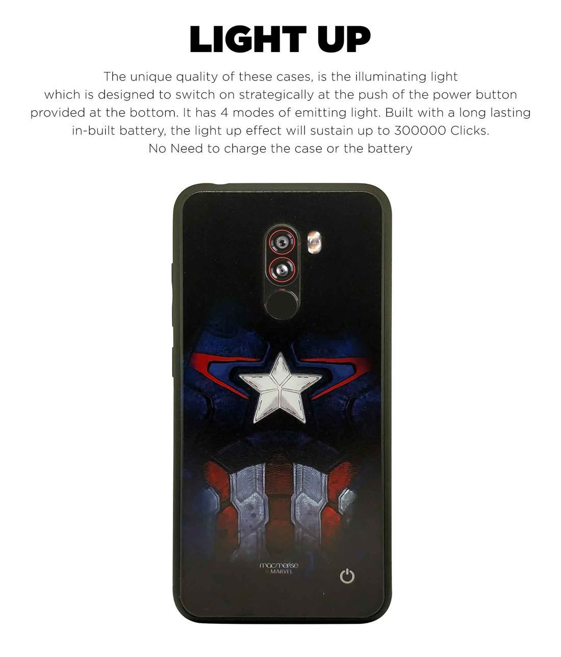 Cap Am Suit - Lumous LED Phone Case for Xiaomi Poco F1