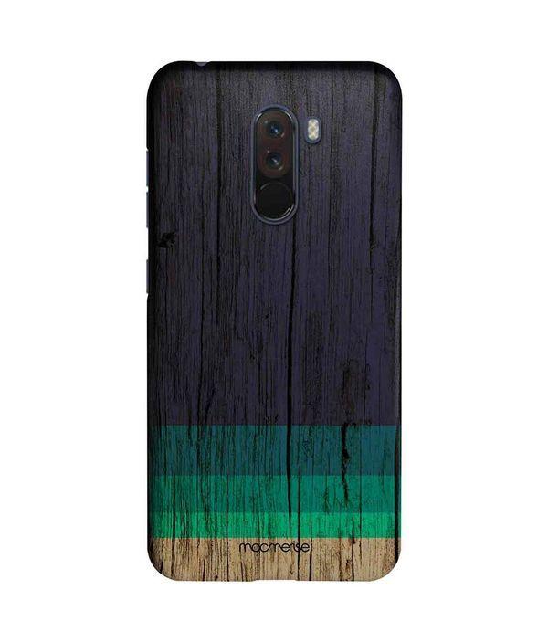 Wood Stripes Blue - Sleek Phone Case for Xiaomi Poco F1