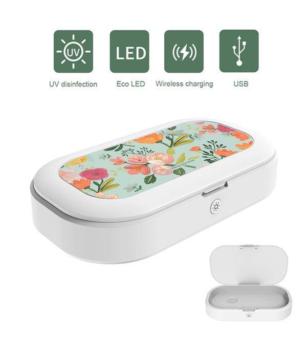 Payal Singhal Aqua Handpainted Flower - Macmerise UV Sanitizer & Wireless Charger Pro