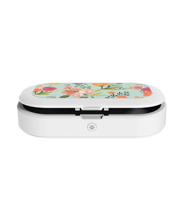 Payal Singhal Aqua Handpainted Flower - Macmerise UV Sanitizer & Wireless Charger Pro
