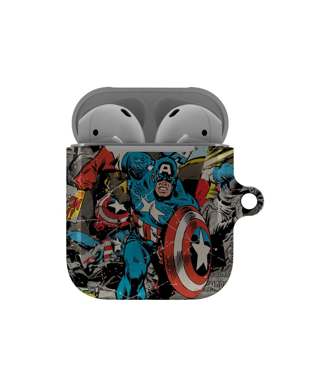 Comic Captain America - Hard Shell Airpod Case