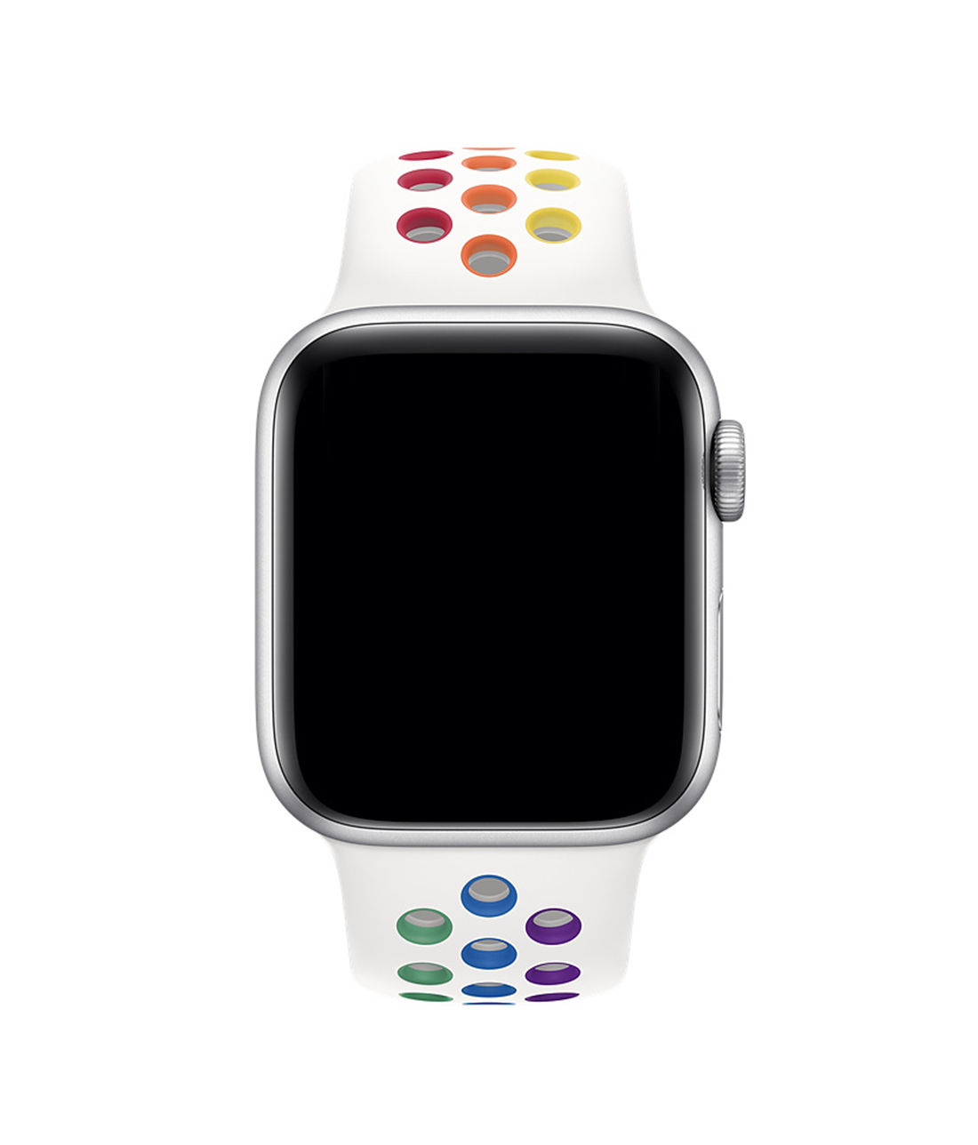 Neon Sport Rainbow White - Silicone Apple Watch Band  (38 / 40 MM)