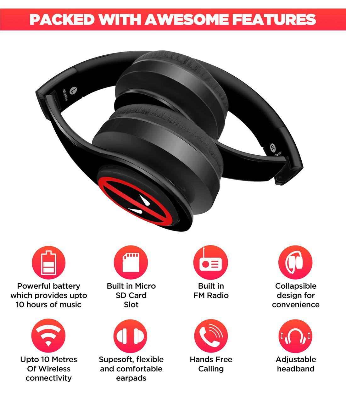 Face Focus Deadpool - Decibel Wireless On Ear Headphones