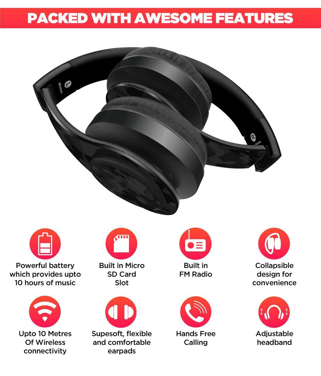 Camo Effect Black - Decibel Wireless On Ear Headphones
