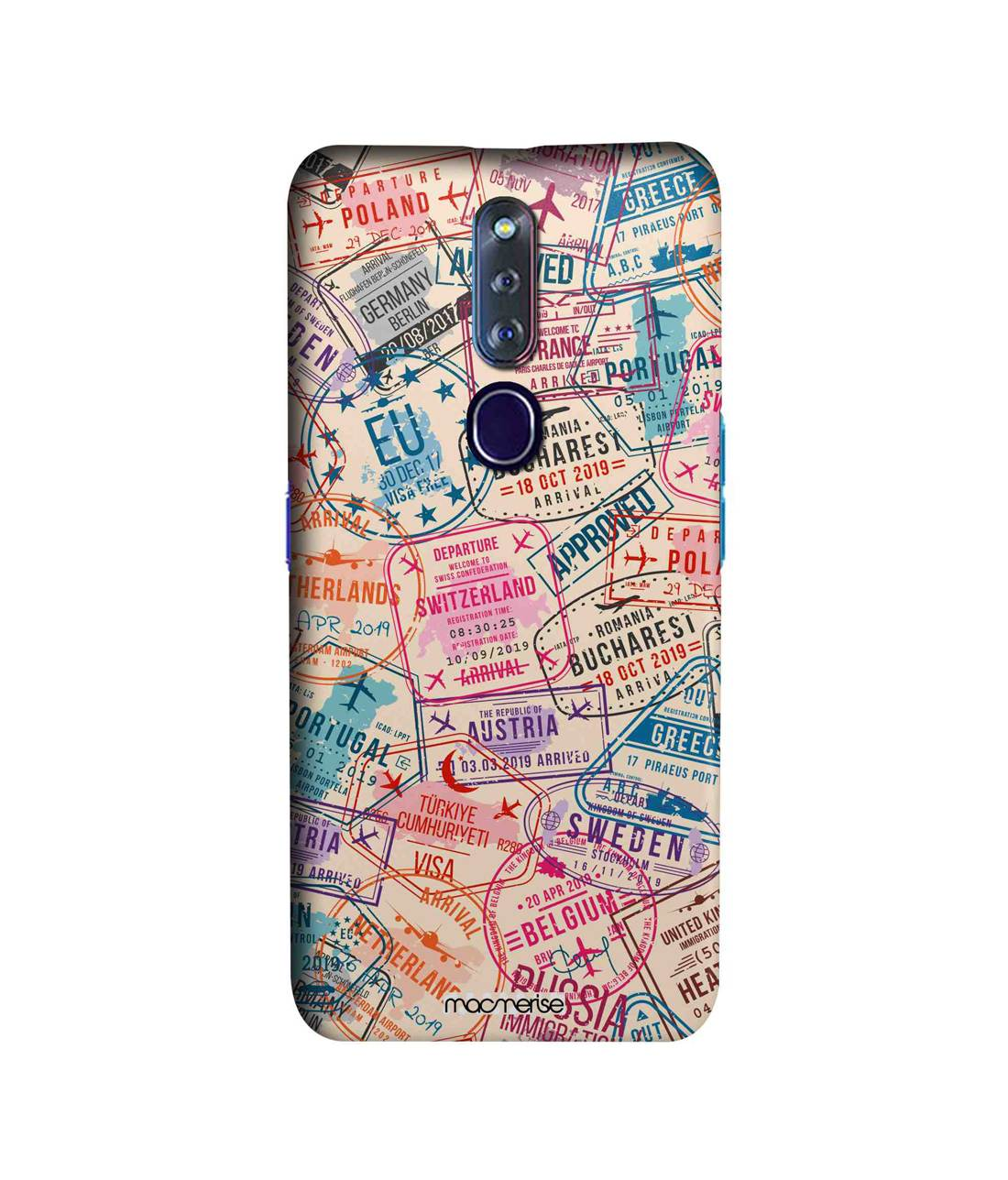 Immigration Stamps Beige - Sleek Phone Case for Oppo F11 Pro