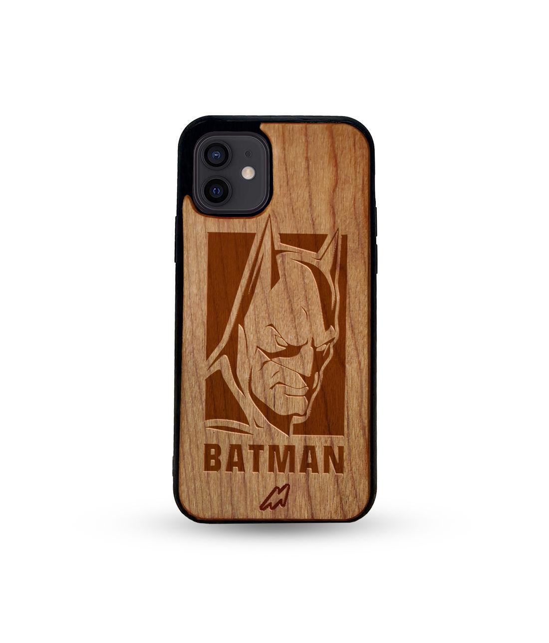 Batman Stare - Honey Maple Wooden Phone Case for iPhone 12