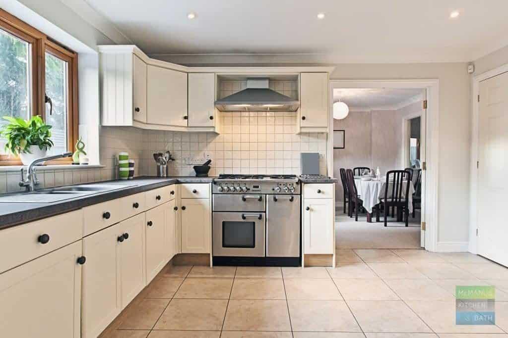 white kitchen cabinets with white back splash