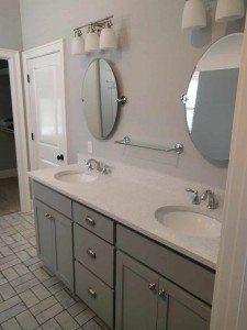 Grey Bathroom Vanity, white quartz counter top
