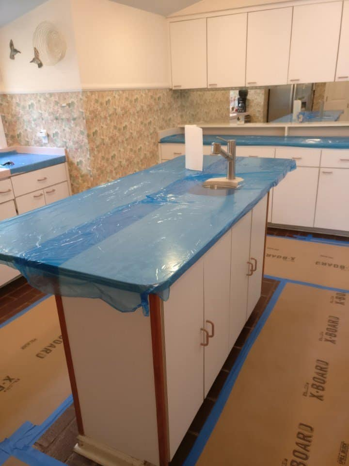 Cabinet reface: protect floors and counters
