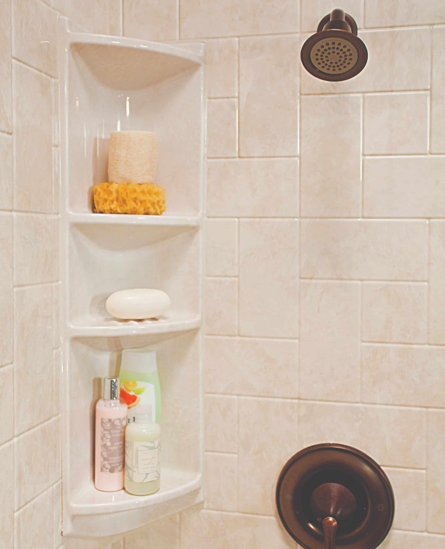 Corner shelves in shower