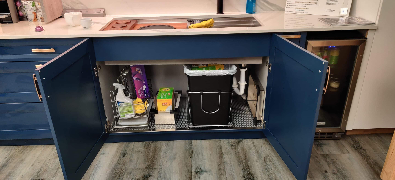 Kitchen sink cabinet open