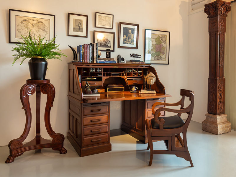 British-Colonial-Teakwood-Roll-Top-Desk-The-Past-Perfect-Collection-Singapore