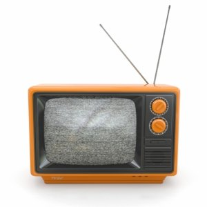 Old-timey TV with a screen full of static