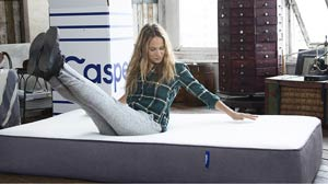 sporty lady on the casper mattress
