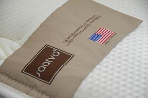 saatva mattress label with american flag