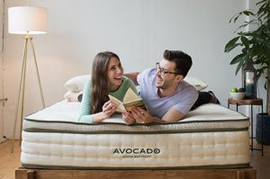 couple on the avocado green mattress