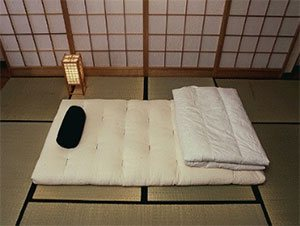futon on a traditional bamboo floor
