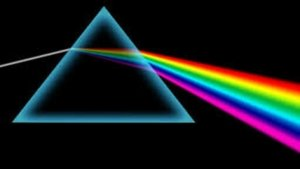 White light strikes a prism and a rainbow spills out the other side