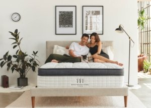 The Brentwood Home Oceano Luxury Hybrid mattress with a happy couple