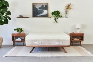 The Brentwood Home Hybrid Latex mattress in a room