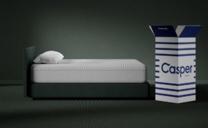 Casper Wave Hybrid Mattress view from the side with the box.