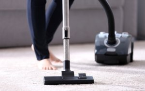 lady vacuum cleans a carpet
