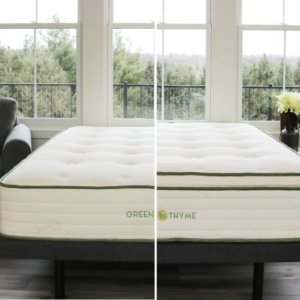 view of the two different firmness levels in the Green Thyme mattresses