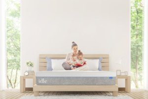 View of the IDLE Plush Mattress with a woman and her child