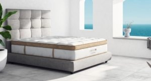 View of the Saatva HD mattress from an angle