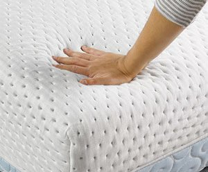 the mattress' cover touched by a hand