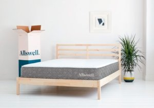 the Allswell Luxe hybrid mattress in a room